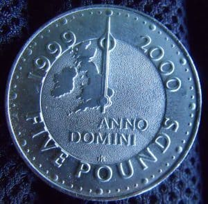 borrow 2 thousand pounds five pound coin 1999 turn of century