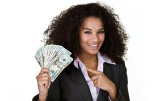 2017 Payday Lenders girl pointing to cash in hand