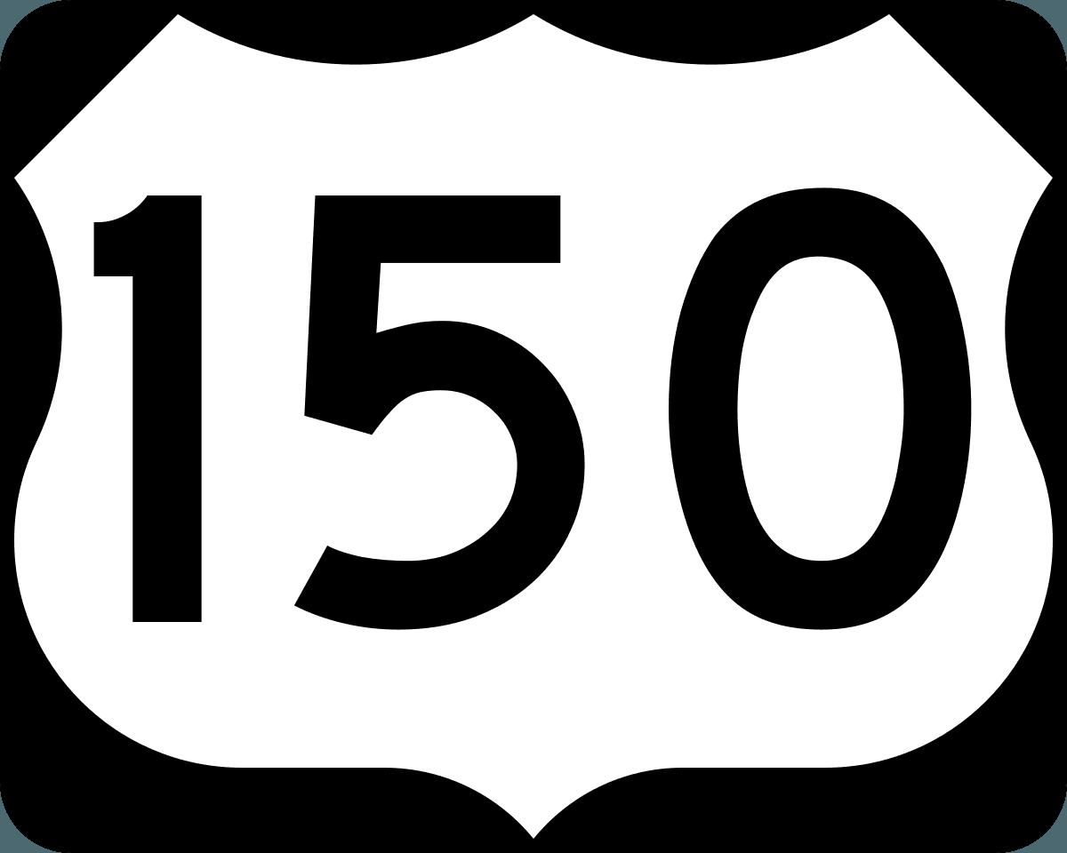 borrow 150 pounds black and white usa road sign