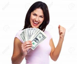 250 Pound Loans happy girl holding cash and punching the air