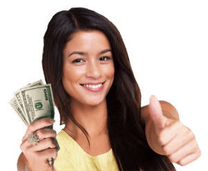 400 loans girl with cash in one hand and thumbs up with other hand