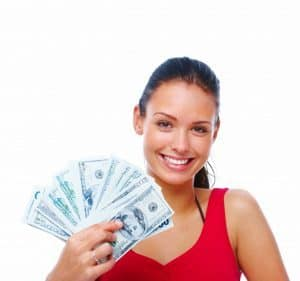 Alternatives to Payday Loans Cash Advances happy girl with bundle of cash in hand