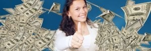 girl with floating cash giving thumbs up signal borrow money instantly