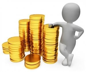 Fast Loans Today figure leaning on piles of gold coins