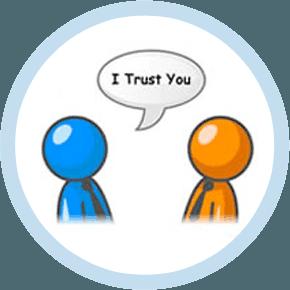 guarantor loans UK two cartoon men saying i trust you