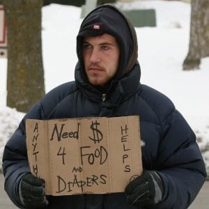 man in desperation needing cash to feed his family