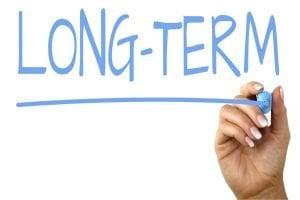 long term installment loans written in blue on glass