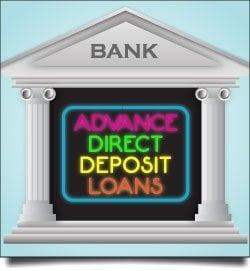 payday loans direct lender bad credit neon bank sign advance direct deposit loans