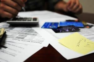 statements credit cards and calculator on desk